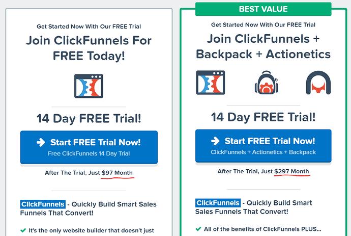 Clickfunnels Pricing Structure Screenshot