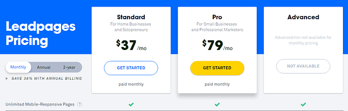LeadPages Pricing Structure Screenshot