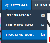 clickfunnels SETTINGS > TRACKING CODE menu